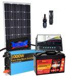 Pannello Solare 12V 100W Regolatore 10A Batteria 100Ah Inverter MC4 Misuratore