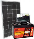 KIT Solare Fotovoltaico 12V/100W Mono con Batteria AGM 100Ah con Regolatore PWM 10A #30200124