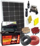 KIT Solare 12V 100W Mono con Batteria AGM 100Ah completo degli accessori elettrici #30200125