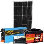 Kit Fotovoltaico 12V 150W (160W) + Batteria 100A + Inverter 1000W + Regolatore PWM 10A