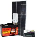 Kit Solare 100W 12V Mono + Batteria 100Ah + Regolatore 10A + CFL 15W #30200103CFL