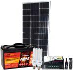 Kit Solare 100W 12V Mono + Regolatore 10A + Batteria 100Ah + Connettori MC4 + CFL