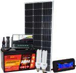 Kit Solare 100W 12V Mono Regolatore 10A Batteria 100Ah Connettori Misuratore CFL