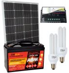 Kit Solare 100W 12V Mono + Batteria AGM 100Ah + Regolatore PWM 10A + CFL 15W #30200124CFL
