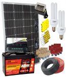 Kit Solare 100W 12V Mono Regolatore 10A Batteria AGM 100Ah CFL 15W Accessori Elettrici #30200125CFL