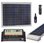 Kit Solare Camper 50W 12V Poly con Regolatore 10A 12V Connettori Supporto