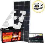 Kit Solare Camper 100W 12V Mono con Batteria 100Ah Regolatore 10A Supporto Speciale