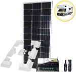 Kit Solare Camper 100W 12V Mono con Regolatore 10A Connettori MC4 Supporto Speciale