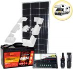 Kit Solare Camper 100W 12V Mono con Regolatore 10A Batteria 100Ah Connettori Supporto