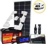 Kit Solare Camper 100W 12V Mono Regolatore 10A Batteria 100Ah Connettori Misuratore Supporto