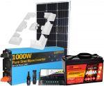 Kit Solare Camper 100W 12V Mono con Regolatore 10A Batteria 100Ah Inverter 1000W MC4 Supporto