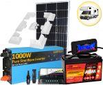 Kit Solare Camper 100W 12V Mono Regolatore 10A Batteria 100Ah Inverter 1000W MC4 Misuratore Supporto