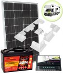 Kit Solare Camper 100W 12V Mono con Batteria AGM 100Ah Regolatore PWM 10A Supporto Speciale #30200124SF