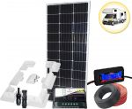 100W 12V Mono Camper Solar Kit 10A Charger MC4 Connectors Digital DC Cables Bracket #30200131SF