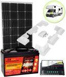 Kit Solare Camper 12V 150W (160W) Mono Batteria AGM 100Ah Regolatore PWM 10A Supporto