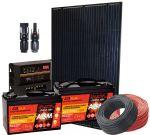 Kit Solare 12V 260W Poly Regolatore PWM 12V 20A Connettori MC4 Cavi Batterie #30200280