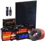 Kit Solare 12V 260W Poly Regolatore PWM 12V 20A Connettori MC4 Cavi Batterie #30200282