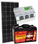 KIT Solare Fotovoltaico 12V 150W (160W) Mono con Batteria 100Ah AGM con Regolatore MPPT 20A