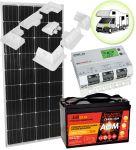 Kit Solare Camper 12V 150W (160W) Mono con Batteria 100Ah AGM Regolatore MPPT 20A Supporto #30200169SF