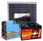 Kit Solare 50W 12V Poly Batteria AGM 100Ah Regolatore PWM 10A Inverter 300/600W#30200066