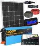 Kit Solare 100W 12V Mono Regolatore 10A Inverter 1000W Connettori MC4 Misuratore Cavi #30200135