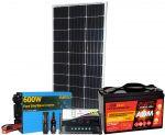 Kit Solare 100W 12V Mono Batteria 100Ah Inverter 600W Regolatore 10A Connettori #30200136