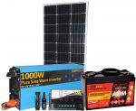 Kit Solare 100W 12V Mono Batteria 100Ah Inverter 1000W Regolatore 10A Connettori #30200137