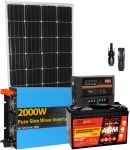 Kit Solare 12V 150W (160W) Mono Regolatore 20A Batteria 100Ah Inverter 2000W Connettori
