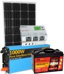 Kit Solare 12V 150W (160W) Mono Batteria 100Ah AGM Inverter 1000W Regolatore MPPT 20A