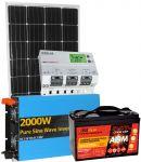 Kit Solare 12V 150W (160W) Mono Batteria 100Ah AGM Inverter 2000W Regolatore MPPT 20A #30200172