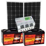 Kit Solare 300W (320W) 24V Mono con Batterie AGM 100Ah e Regolatore MPPT 20A #30200303