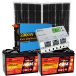 Kit Solare 300W (320W) 24V Mono Batterie AGM 100Ah Inverter 2000W Regolatore MPPT 20A
