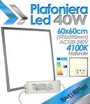 EURTECK Plafoniera Pannello LED Quadrato 60x60cm (595x595mm) 40W 230V 3500lmn 4100K Luce Naturale #27595050