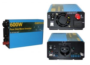 Inverter Onda Sinusoidale Pura 600W/1200W 12VDC-230V AC Eurteck - #22020928