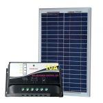 KIT Solare Fotovoltaico 20W 12V Poly + Regolatore PWM 10A Nautica Camper Baita