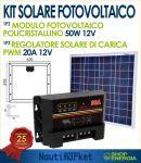 KIT Solare Fotovoltaico 50W 12V Poly + Regolatore Solare 20A x Nautica Camper Baita #30200050