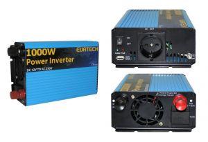 Inverter Onda Sinusoidale Modificata 1000W 12VDC-230V AC Eurteck - #22022065