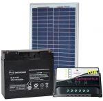 KIT Solare Fotovoltaico 20W 12V Poly + Batteria AGM 18Ah + Regolatore PWM 10A