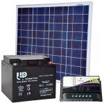 KIT Solare Fotovoltaico 12V 50W Poly + Batteria AGM 45Ah + Regolatore PWM 10A #30200053