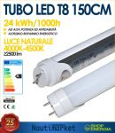 Tubo LED T8 150cm 24W 4000K-4500K Bianca Naturale Satinato 2500Lm #27560158