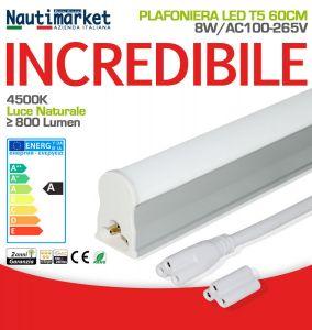 Plafoniera Tubo LED T5 60cm 8W 4500K Bianca Naturale Satinato ≥800 Lm #27560200